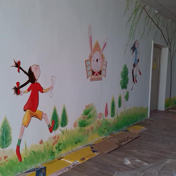 手绘墙画动物黑白